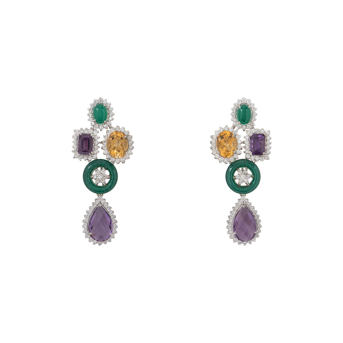 White Gold Diamond and Multi-Gem Earrings